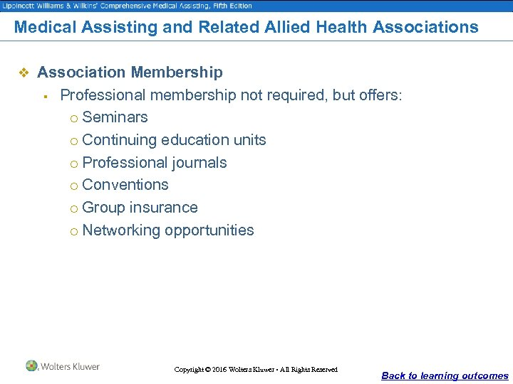 Medical Assisting and Related Allied Health Associations v Association Membership § Professional membership not