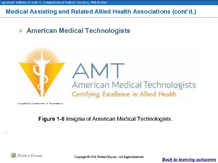 Medical Assisting and Related Allied Health Associations (cont'd. ) Ø American Medical Technologists Figure