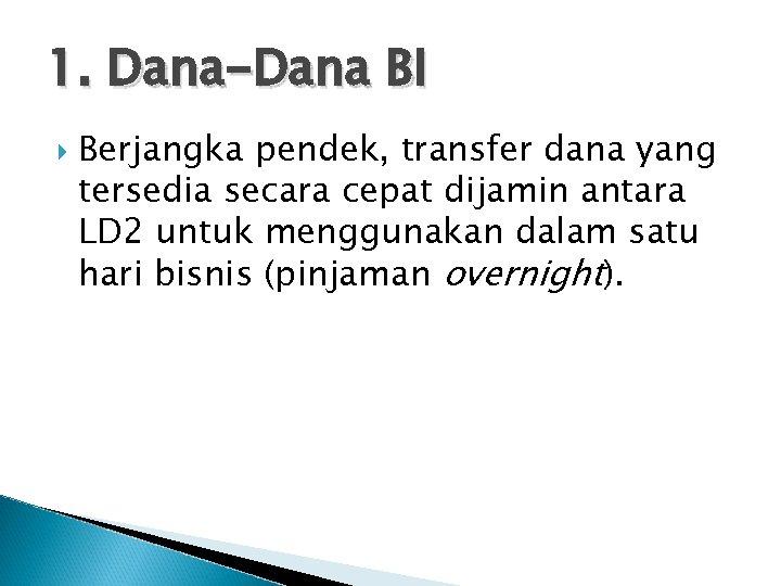 1. Dana-Dana BI Berjangka pendek, transfer dana yang tersedia secara cepat dijamin antara LD