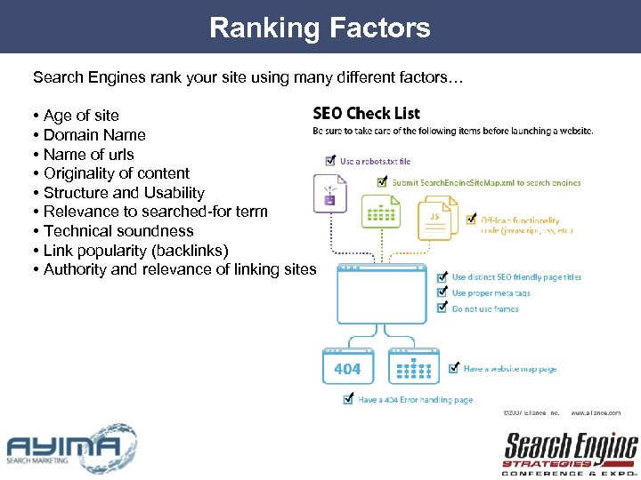 Ranking Factors Search Engines rank your site using many different factors… • Age of