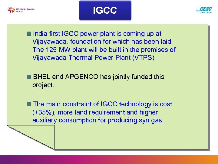 IGCC India first IGCC power plant is coming up at Vijayawada, foundation for which