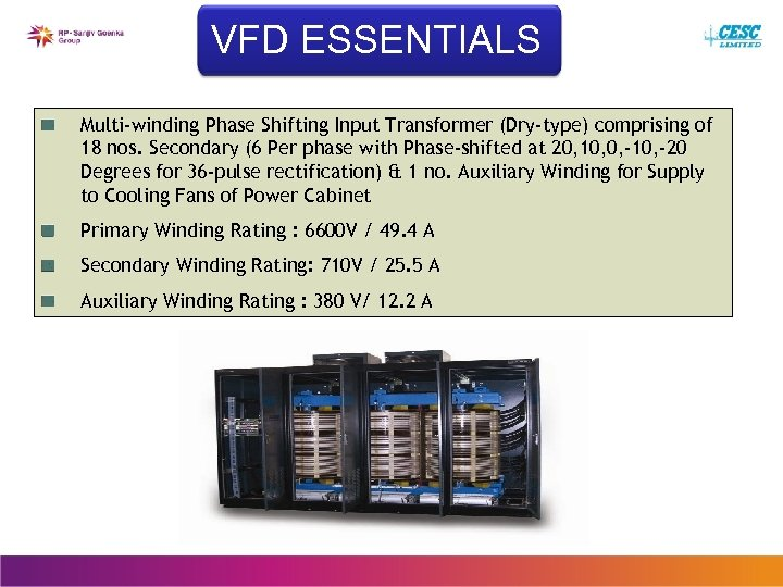 VFD ESSENTIALS Multi-winding Phase Shifting Input Transformer (Dry-type) comprising of 18 nos. Secondary (6