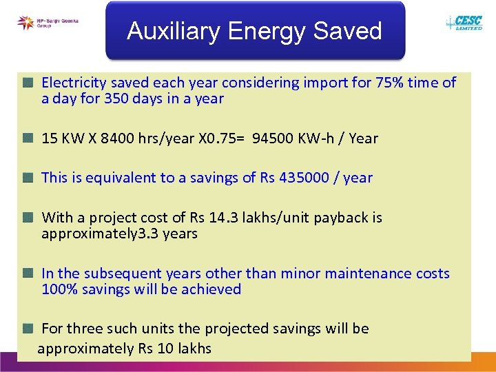 Auxiliary Energy Saved Electricity saved each year considering import for 75% time of a