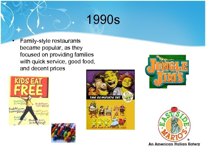 1990 s • Family-style restaurants became popular, as they focused on providing families with