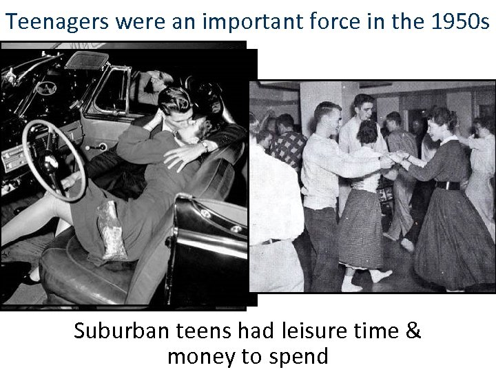 Teenagers were an important force in the 1950 s Suburban teens had leisure time