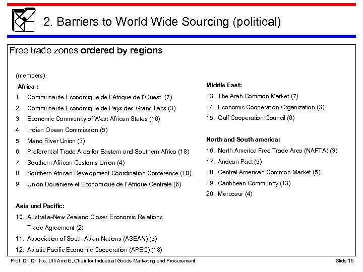 2. Barriers to World Wide Sourcing (political) Free trade zones ordered by regions (members)