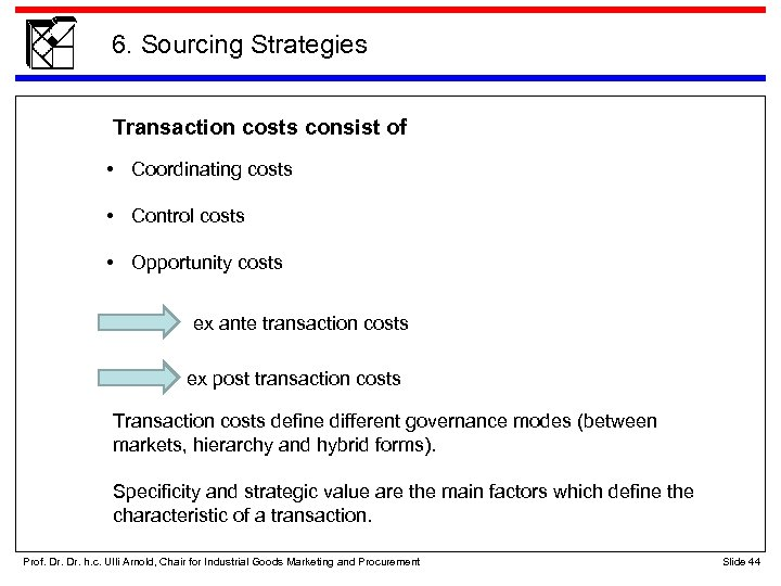 6. Sourcing Strategies Transaction costs consist of • Coordinating costs • Control costs •
