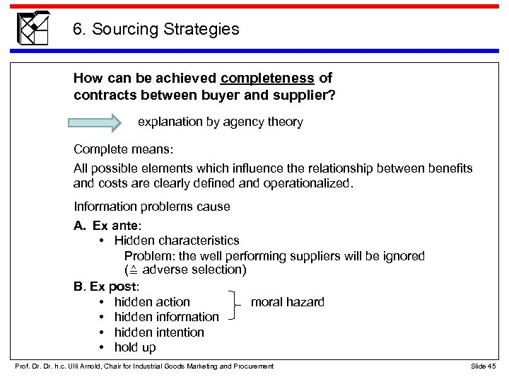 6. Sourcing Strategies How can be achieved completeness of contracts between buyer and supplier?