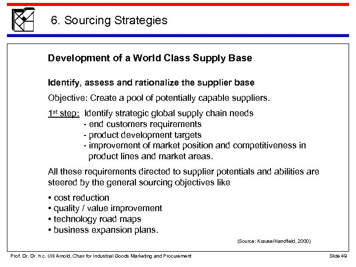 6. Sourcing Strategies Development of a World Class Supply Base Identify, assess and rationalize