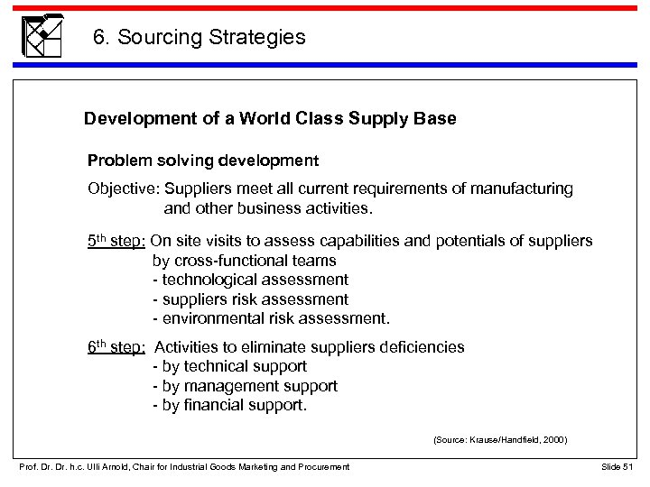 6. Sourcing Strategies Development of a World Class Supply Base Problem solving development Objective: