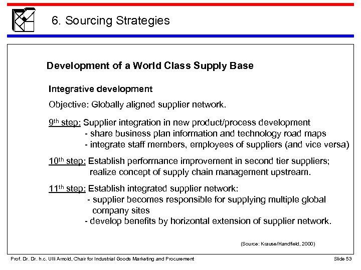 6. Sourcing Strategies Development of a World Class Supply Base Integrative development Objective: Globally