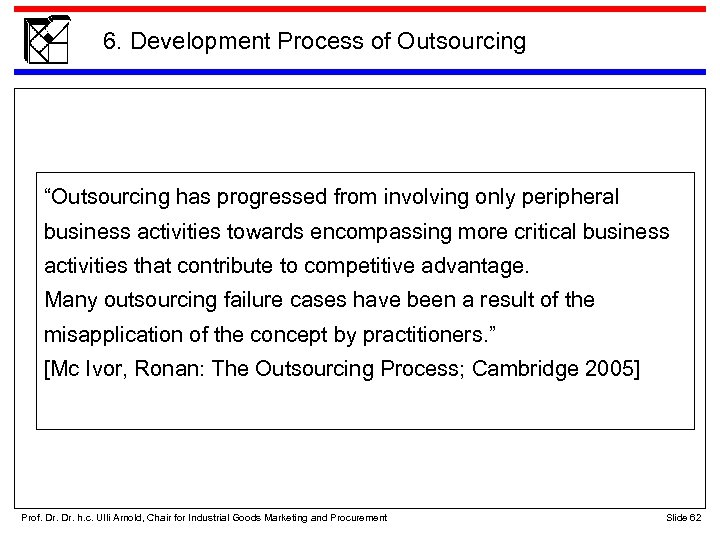 """6. Development Process of Outsourcing """"Outsourcing has progressed from involving only peripheral business activities"""