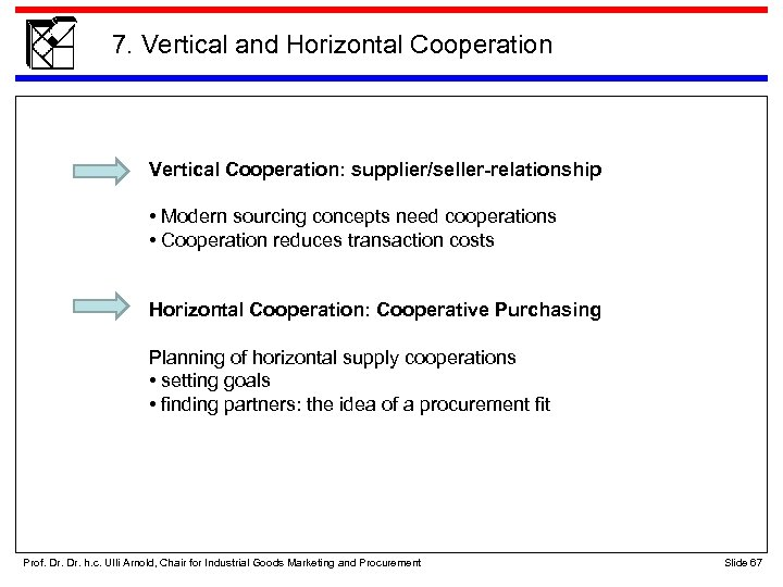 7. Vertical and Horizontal Cooperation Vertical Cooperation: supplier/seller-relationship • Modern sourcing concepts need cooperations