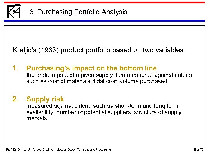 8. Purchasing Portfolio Analysis Kraljic's (1983) product portfolio based on two variables: 1. Purchasing's