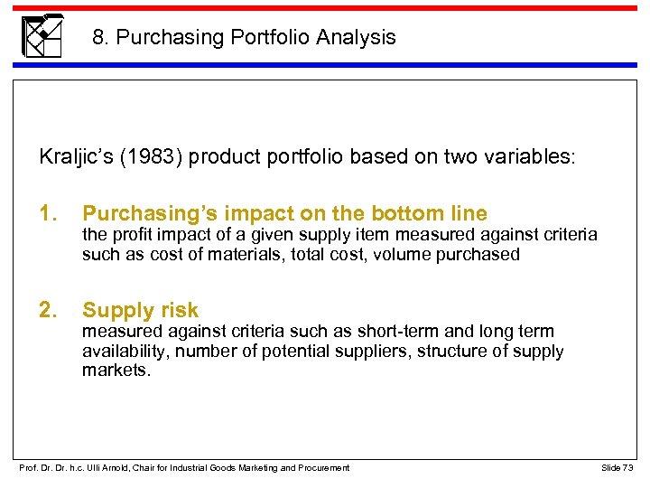 8. Purchasing Portfolio Analysis Kraljic's (1983) product portfolio based on two variables: 1. Purchasing's