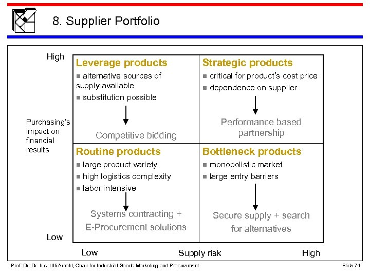 8. Supplier Portfolio High Strategic products n alternative sources of n critical for product's
