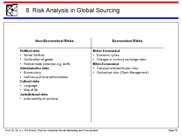 8. Risk Analysis in Global Sourcing Non-Economical Risks Political risks • Social Conflicts •