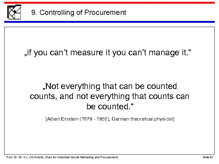 """9. Controlling of Procurement """"if you can't measure it you can't manage it. """""""