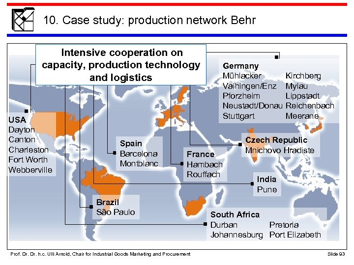 10. Case study: production network Behr Intensive cooperation on capacity, production technology and logistics