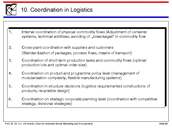 10. Coordination in Logistics 1. Internal coordination of physical commodity flows (Adjustment of container