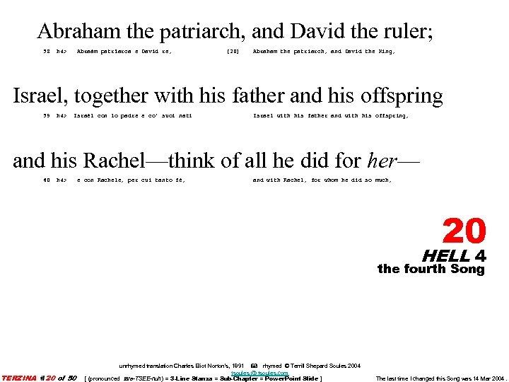 Abraham the patriarch, and David the ruler; 58 h 4> Abraàm patrïarca e Davìd