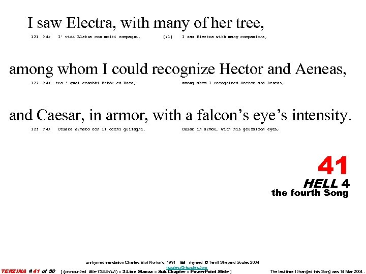 I saw Electra, with many of her tree, 121 h 4> I' vidi Eletra