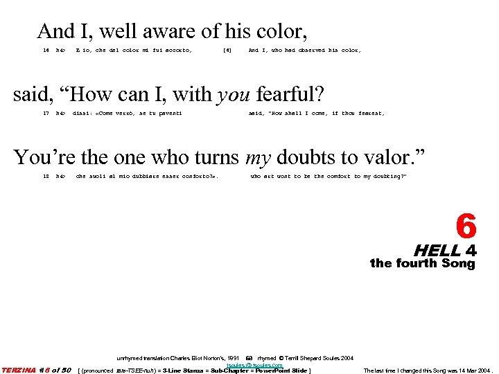 And I, well aware of his color, 16 h 4> E io, che del