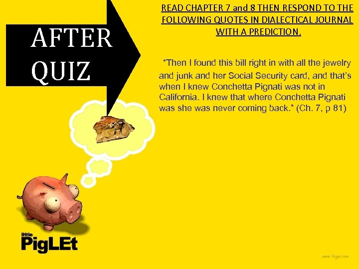 AFTER QUIZ READ CHAPTER 7 and 8 THEN RESPOND TO THE FOLLOWING QUOTES IN