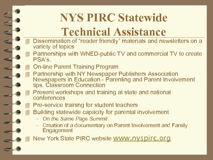 """NYS PIRC Statewide Technical Assistance 4 Dissemination of """"reader friendly"""" materials and newsletters on"""