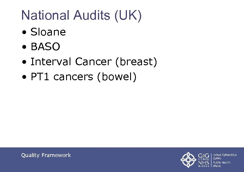 National Audits (UK) • Sloane • BASO • Interval Cancer (breast) • PT 1