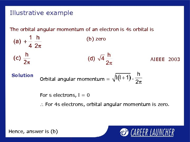 Illustrative example The orbital angular momentum of an electron is 4 s orbital is