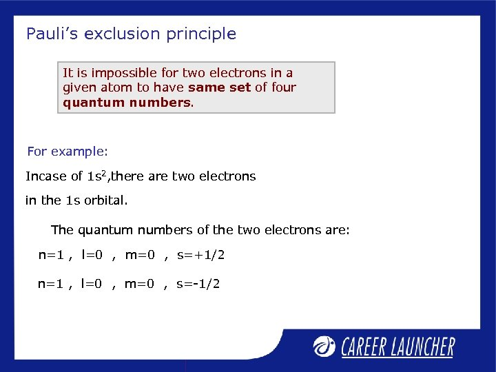 Pauli's exclusion principle It is impossible for two electrons in a given atom to