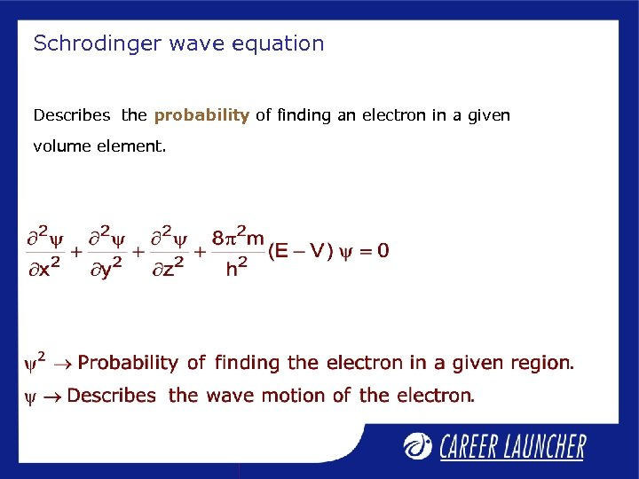 Schrodinger wave equation Describes the probability of finding an electron in a given volume