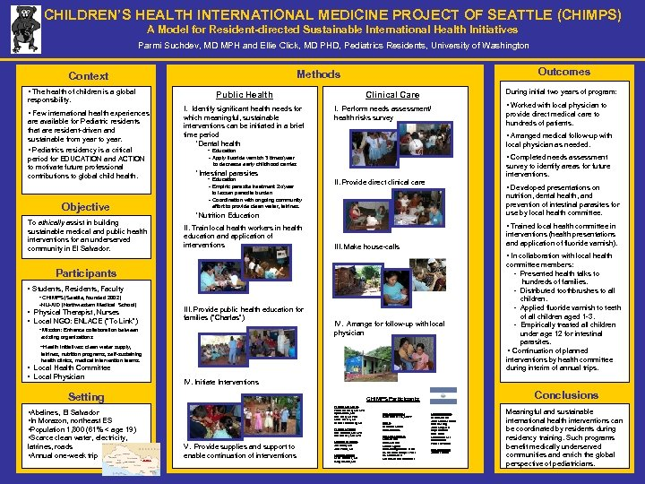 CHILDREN'S HEALTH INTERNATIONAL MEDICINE PROJECT OF SEATTLE (CHIMPS) A Model for Resident-directed Sustainable International