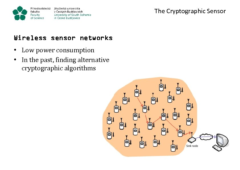 The Cryptographic Sensor Wireless sensor networks • Low power consumption • In the past,