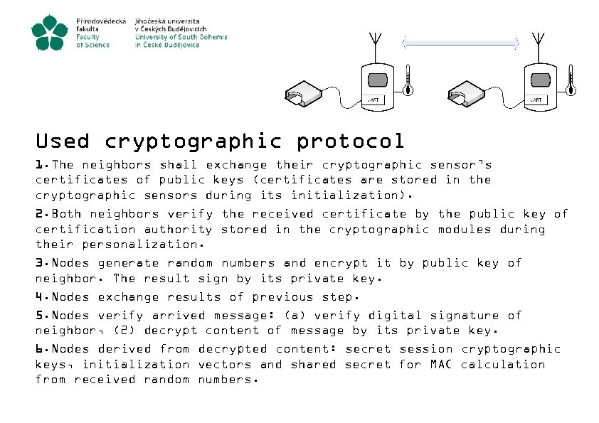 Used cryptographic protocol 1. The neighbors shall exchange their cryptographic sensor's certificates of public
