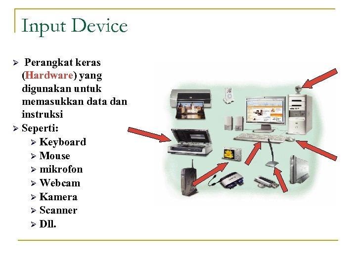 Input Device Perangkat keras (Hardware) yang digunakan untuk memasukkan data dan instruksi Ø Seperti: