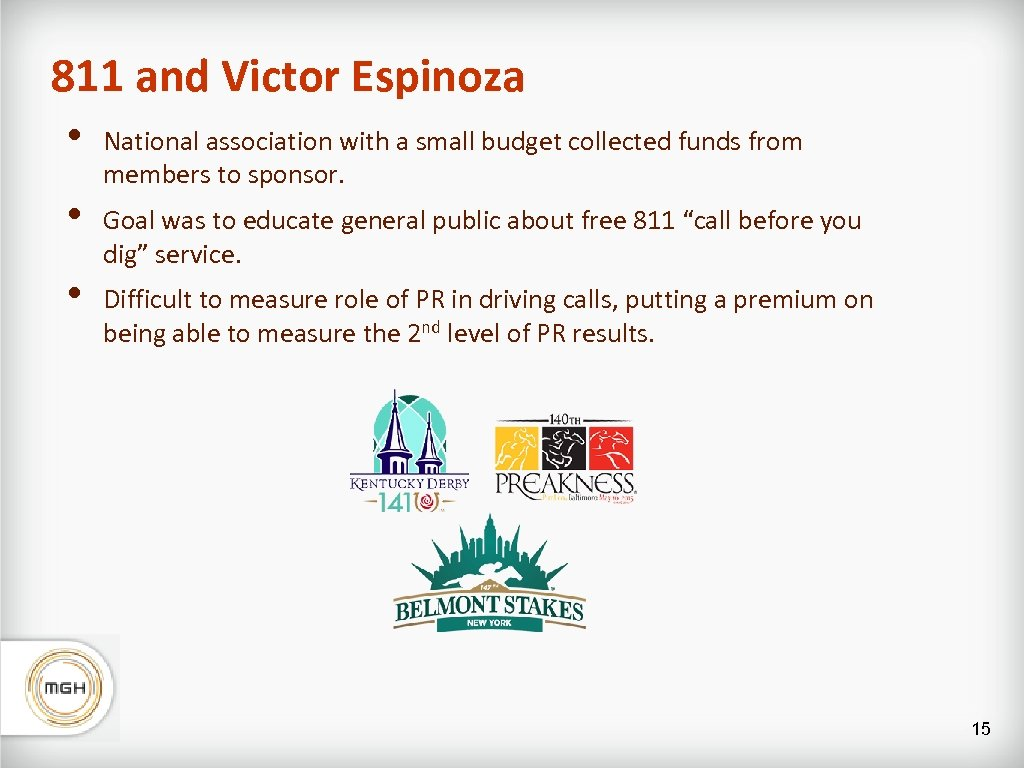 811 and Victor Espinoza • • • National association with a small budget collected