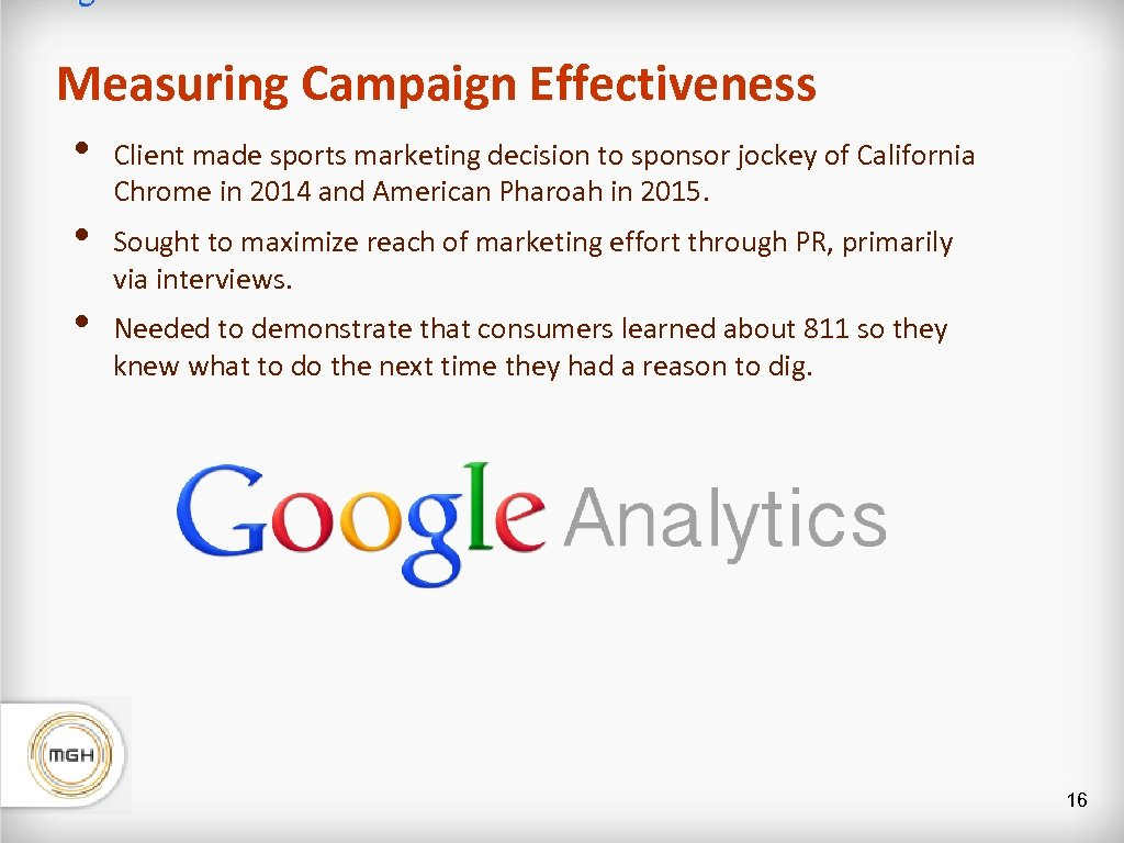 Measuring Campaign Effectiveness • • • Client made sports marketing decision to sponsor jockey