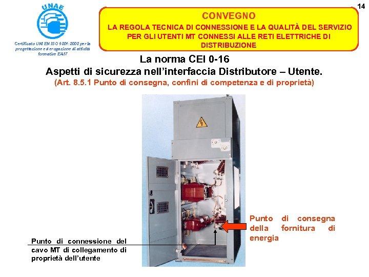 14 CONVEGNO Certificato UNI EN ISO 9001: 2000 per la progettazione ed erogazione di