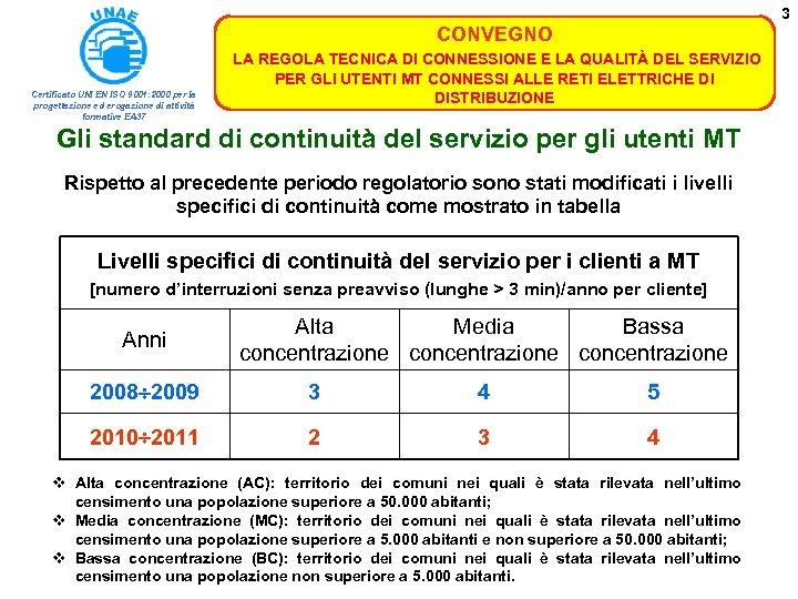 3 CONVEGNO Certificato UNI EN ISO 9001: 2000 per la progettazione ed erogazione di