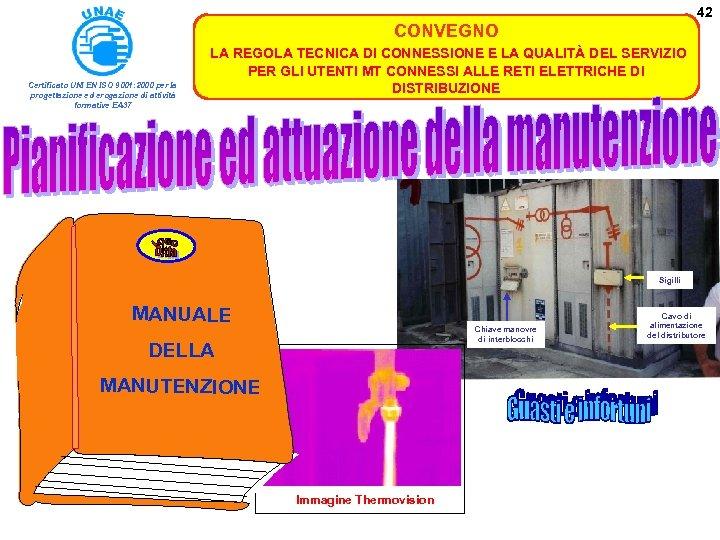 42 CONVEGNO Certificato UNI EN ISO 9001: 2000 per la progettazione ed erogazione di