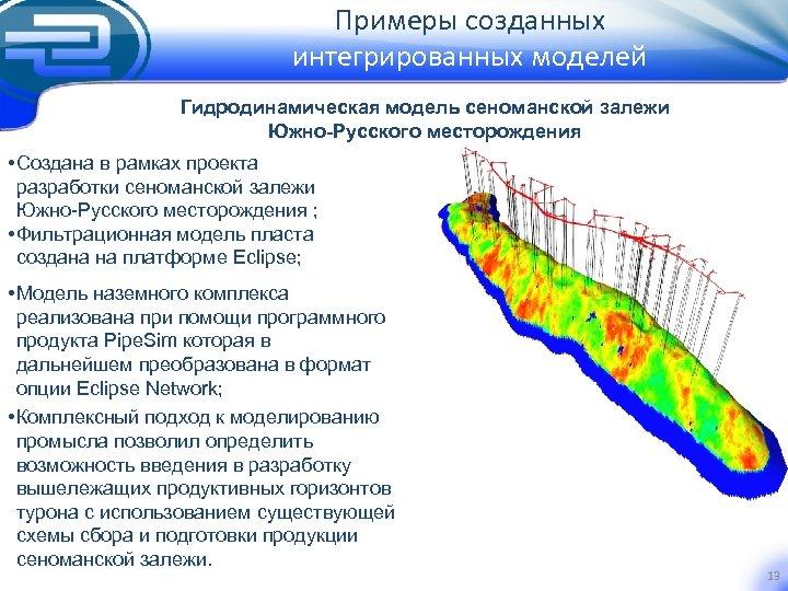 Примеры созданных интегрированных моделей Гидродинамическая модель сеноманской залежи Южно-Русского месторождения • Создана в рамках