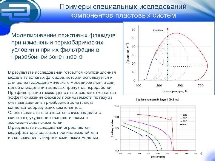 Примеры специальных исследований компонентов пластовых систем Моделирование пластовых флюидов при изменении термобарических условий и