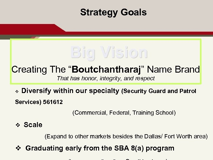 """Strategy Goals Big Vision Creating The """"Boutchantharaj"""" Name Brand That has honor, integrity, and"""