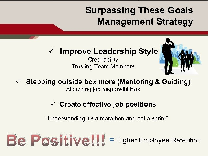 Surpassing These Goals Management Strategy ü Improve Leadership Style Creditability Trusting Team Members ü