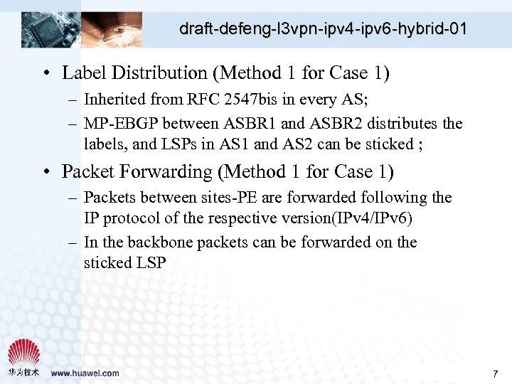 draft-defeng-l 3 vpn-ipv 4 -ipv 6 -hybrid-01 • Label Distribution (Method 1 for Case