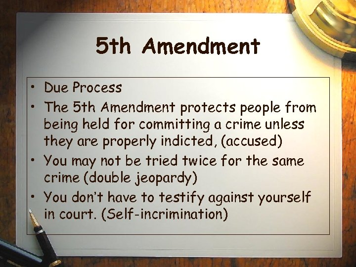 5 Th Amendment  E2 80 A2 Due Process  E2 80 A Th Amendment Protects People From