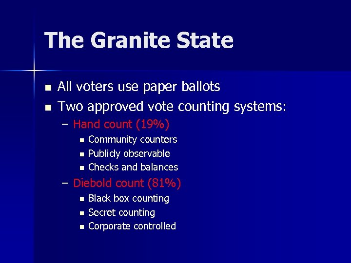The Granite State n n All voters use paper ballots Two approved vote counting