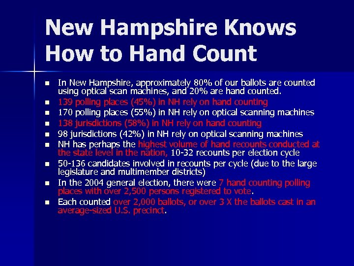 New Hampshire Knows How to Hand Count n n n n n In New